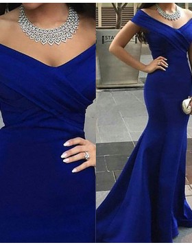Navy Blue Ruched Simple Mermaid Off the Shoulder Long Prom Dress PM1222