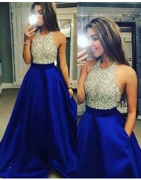 Halter Beading Satin Blue Ball Gown Prom Dress with Pockets PM1225