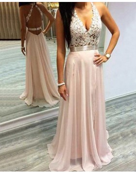 Halter Lace Bodice Chiffon Pink Long Prom Dress PM1230