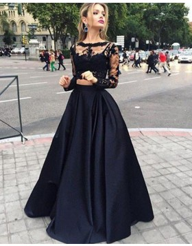 Two Piece Lace Bodice Satin Black Prom Dress with Long Sleeves PM1232