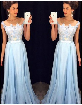Sheer Neck Cyan Appliqued Bodice Tulle Prom Dress PM1233