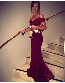 Off the Shoulder Burgundy Mermaid Satin Evening Dress PM1234