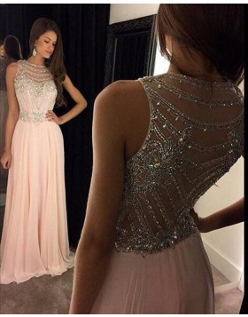 Elegant High Neck Beading Pink Chiffon Long Prom Dress PM1236