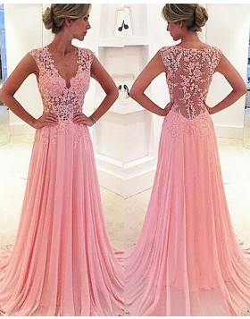 V-neck Lace Appliqued Pink Chiffon Long Prom Dress PM1237