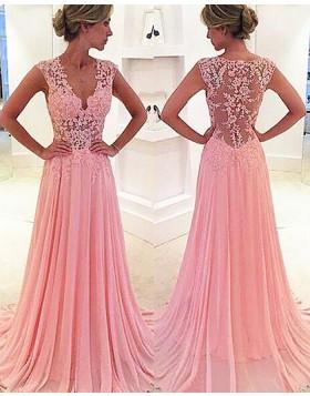 V-neck Lace Appliqued Pink Chiffon Long Prom Dress PM1237