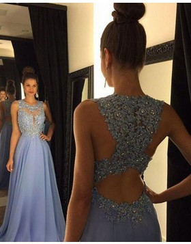 High Neck Light Blue Beading Lace Chiffon Prom Dress PM1238