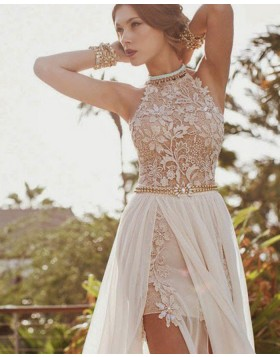 High Neck Lace Bodice Ivory Prom Dress with Detachable Tulle Skirt PM1239
