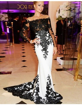 Off the Shoulder Black Appliqued Satin Mermaid Prom Dress with Long Sleeves PM1240