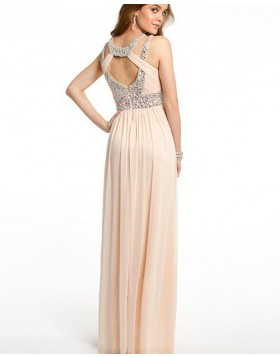 Elegant Chiffon Cutout Beading Pleated Pink Long Prom Dress PM1241