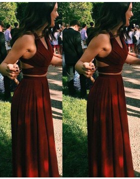 Two Piece Burgundy V-neck Satin Long Prom Dress PM1242