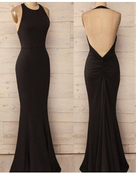 Halter Black Simple Mermaid Satin Prom Dress PM1244