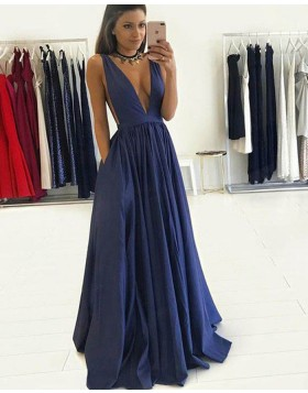 Deep V-neck Navy Blue Pleated Long Prom Dress with Pockets PM1245