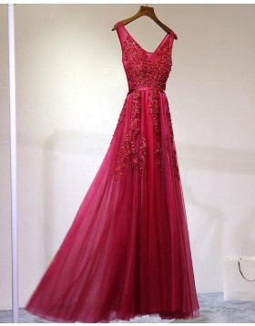 Stunning V-neck Red Tulle Appliqued Long Prom Dress PM1257
