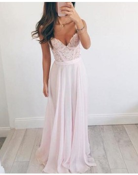 V-neck Pearl Pink Chiffon Appliqued Bodice Long Prom Dress PM1258