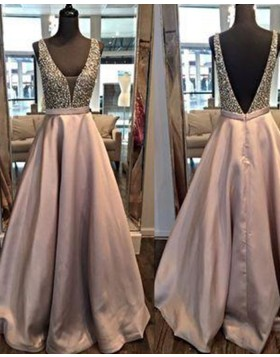 Deep Neck Satin Beading Bodice Light Purple Ball Gown Prom Dress PM1259