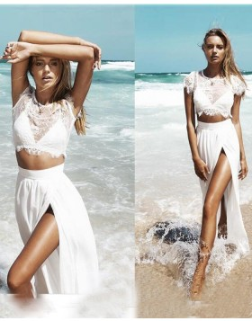 Two Piece Lace Bodice Cap Sleeved White Long Formal Dress with Side Slit PM1260