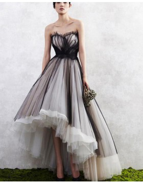 High Low Black and White Tulle Layered Long Formal Dress PM1261