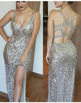 V-neck Gold Sequined Long Mermaid Style Evening Dress with Side Slit PM1263