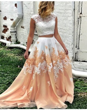 Amazing High Neck Two Piece Lace Bodice Ombre Long Prom Dress PM1265