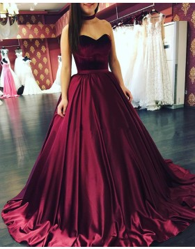 Simple Sweetheart Burgundy Satin Pleated Ball Gown Prom Dress PM1267