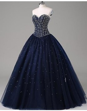 Sparkle Beading Navy Blue Sweetheart Ball Gown Prom Dress PM1268