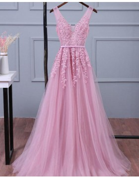 V-neck Lace Appliqued Tulle Pink Long Prom Dress PM1269