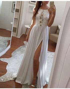Spaghetti Straps Lace Appliqued Bodice Grey Chiffon Prom Dress with Side Slit PM1270