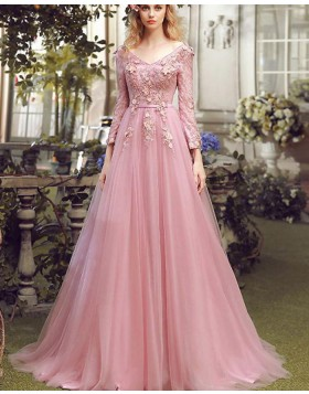 V-neck Blush Pink Tulle Long Handmade Flower Evening Dress with Long Sleeves PM1277