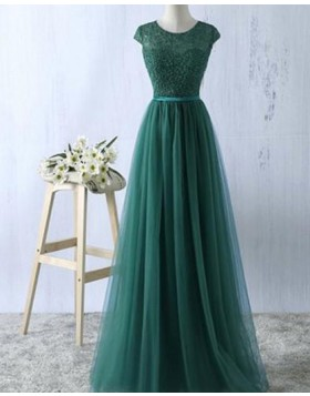 Green Sheer Lace Bodice Tulle Long Prom Dress PM1278