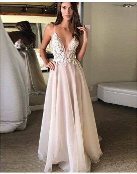 Spaghetti Straps Appliqued Bodice Tulle Dusty Pink Prom Dress PM1279