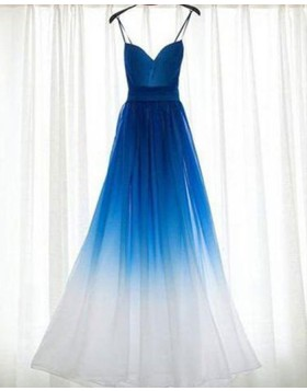 Spaghetti Straps Ombre Blue and White Ruched Tulle Bridesmaid Dress PM1280