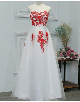 Sheer Neck Red Lace Applique White Tulle Long Formal Dress PM1281