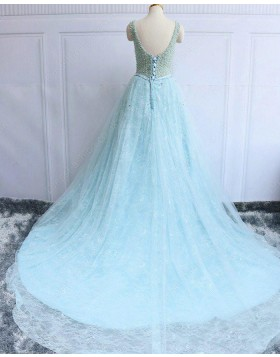 Gorgeous Jewel Beading Sparkle Cyan Lace Long Evening Dress PM1282