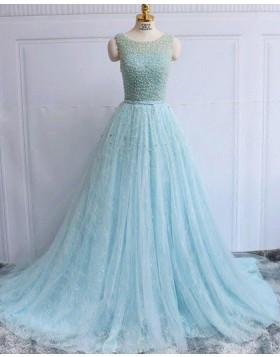 Gorgeous Jewel Beading Sparkle Cyan Lace Long Evening Dress PM1282