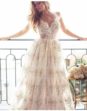 Stunning White Spaghetti Straps Lace Pleated Long Evening Dress PM1283