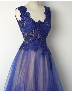 V-neck Blue and Pink Lace Bodice Long Prom Dress PM1284