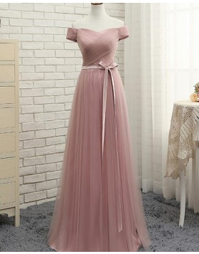 Off the Shoulder Dusty Pink Ruched Tulle Long Bridesmaid Dress PM1285