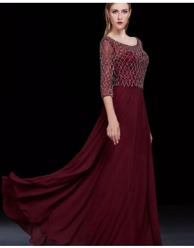 Bateau Burgundy Sparkle Beading Satin Long Evening Dress with 3/4 Length Sleeves PM1286