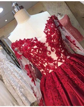 Off the Shoulder Red Appliqued Satin Ball Gown Evening Dress with Long Sleeves PM1287