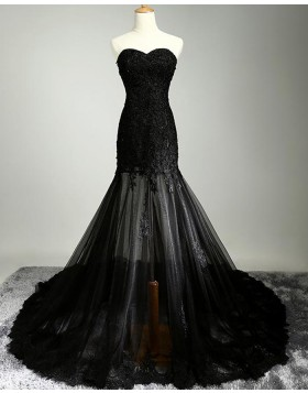 Stunning Sweetheart Lace Appliqued Black Mermaid Evening Dress PM1288