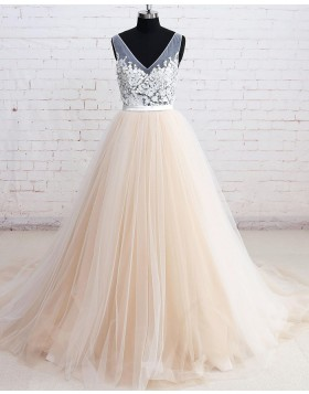 V-neck White and Champagne Tulle Floral Ball Gown Formal Dress PM1290