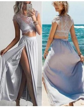 Two Piece Dusty Blue Jewel Appliqued Chiffon Prom Dress PM1291