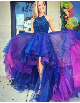 Halter High Low Blue and Red Tulle Beading Prom Dress PM1292