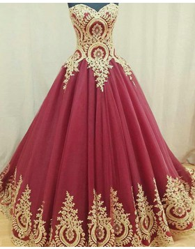 Sweetheart Lace Appliqued Tulle Pleated Ball Gown Evening Dress PM1293