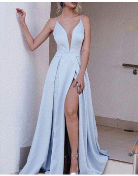 Spaghetti Straps Light Blue Satin Pleated Simple Prom Dress with Side Slit PM1294