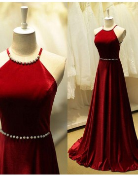 Stunning Halter Beading Satin Long Red Evening Dress PM1295