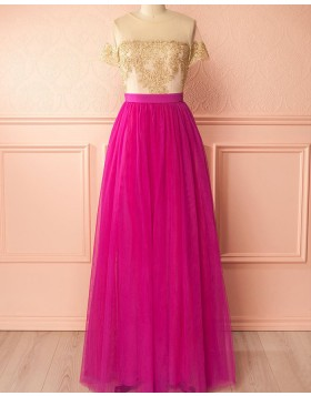 Sheer Neck Gold and Red Tulle Appliqued Bridesmaid Dress with Short Sleeves PM1297