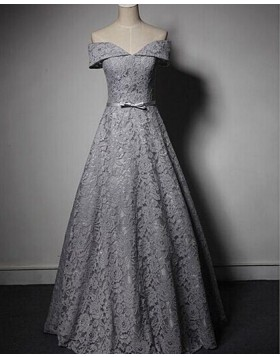 Off the Shoulder Grey Lace Ball Gown Evening Dress PM1298