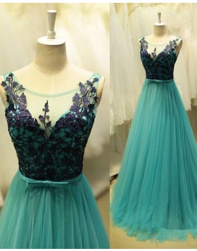 Scoop Teal Tulle Lace Bodice Long Prom Dress PM1300