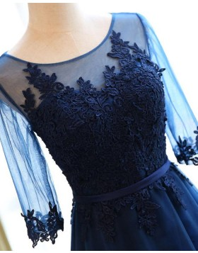 Navy Blue Scoop Tulle Appliqued Bodice Prom Dress with Half Length Sleeves PM1302